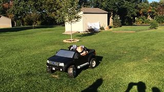 Boy Takes A Power Nap On Power Wheels - Video