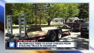 16-year-old tries to stop thieves from stealing truck in Dearborn - Video