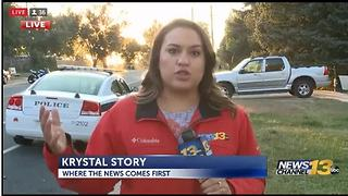 KRDO crew reporting on fatal shooting almost hit by driver - Video