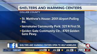 Warming centers open as temperatures drop in Southwest Florida