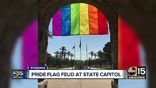 Arizona's Secretary of State hangs Pride flag outside the state capitol