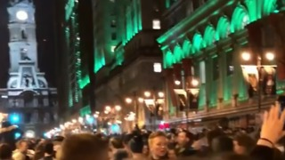 Eagles Fans Celebrate on Philadelphia's Broad Street After Super Bowl Victory - Video