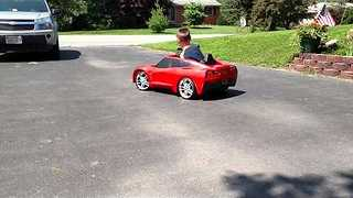 Little Kid Does Donuts in his Little Red Corvette