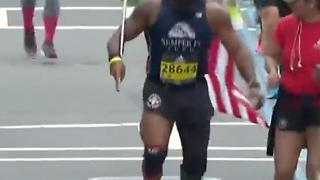 Retired Marine Amputee Finishes Boston Marathon - Video