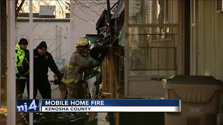 Mobile home fire in Kenosha County - Video