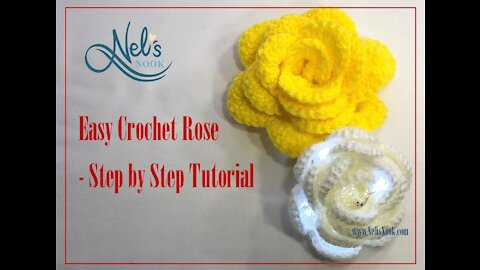 Easy Crochet Rose with lights - Step by Step Tutorial
