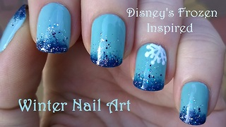 Disney's Frozen-inspired ombre nail art design