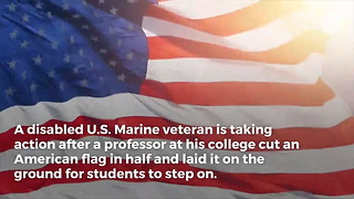 US Marine Vet Takes Action After Prof Forces Students to Step on American Flag for Art Show - Video