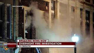 Fire guts apartment building in downtown Plymouth - Video