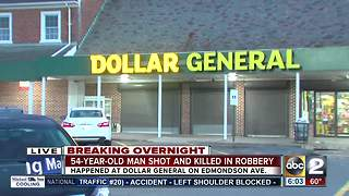 Man shot, killed after robbery at Dollar General store in W. Baltimore - Video