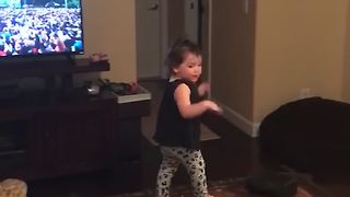 Excited Dancing Toddler Falls Off Table - Video