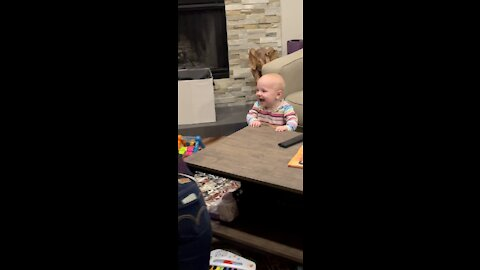 Baby giggles when momma crawls