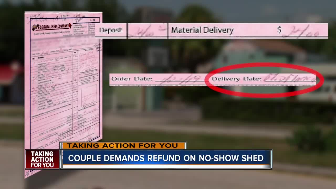 Oldsmar couple forced to wait months for shed refund after paying down payment