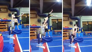 That's gotta hurt – Gymnast showcases painful fails during training practice