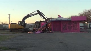 Time lapse video of pink demolition