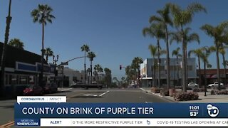 County on brink of purple tier