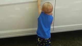 Toddler Boy Got Caught Trying to Steal a Car - Video
