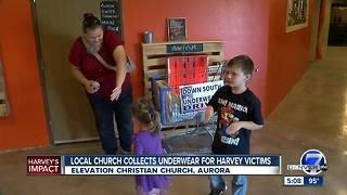 Aurora church collects underwear for Hurricane Harvey victims - Video