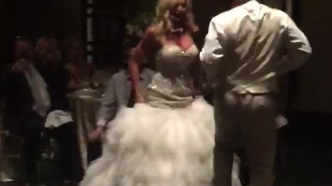 Bride And Groom Fall While Dancing