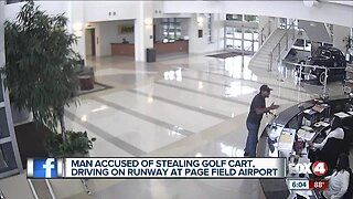 Caught on camera stealing a golf cart at page field