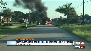 Car catches fire on Cape Coral street