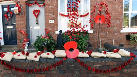 Street transforms itself into 'Poppy Road' with thousands of decorations to commemorate end of Great War