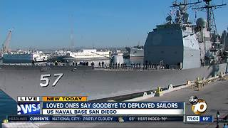 Loved ones say goodbye to sailors - Video