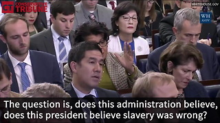 Sarah Huckabee Sanders Shuts Down Liberal Reporter Who Again Asked About Slavery - Video
