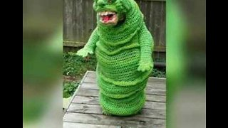 This Kid Wins Halloween With His Epic Crochet Slimer Costume