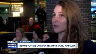Beauts players cheer on teammate going for gold - Video