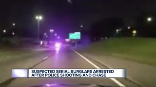 Suspect serial burglars arrested after police shooting and chase - Video