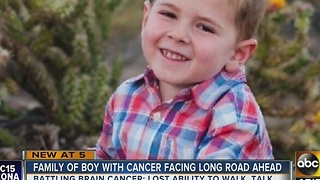 Boy loses ability to walk and talk while fighting cancer - Video