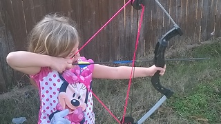 5 Year Old Girl Having Fun With Her Bow - Video