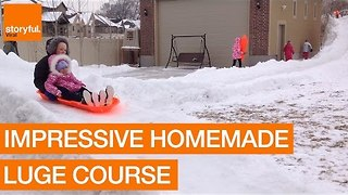 Genius Dad Builds Backyard Luge Course - Video