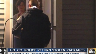 Police deliver dozens of packages that were stolen from Howard County homes