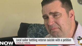 Local sailor battling veteran suicide with a petition - Video