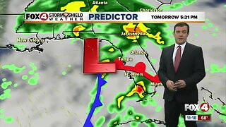 Forecast: Cloudy with rain and storms and breezy conditions Sunday