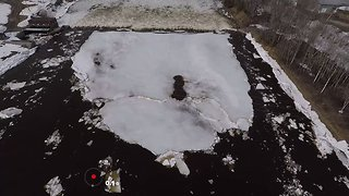Drone Footage Shows Ice Breakup Along Caribou's Aroostook River - Video