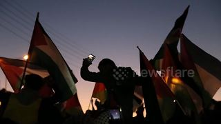 Dusk protest in front of US Embassy in Amman - Video