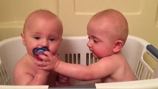 Twin Boys Keep Stealing Pacifiers From Each Other - Video