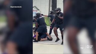 Cell phone videos show Tampa police officers using pepper spray during Thursday's protests