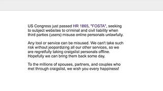 Human Trafficking Legislation Prompts Craigslist to Take Down Personals Section - Video