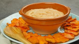 Buffalo White Bean Hummus with Oven-Baked Sweet Potato Chips - Video