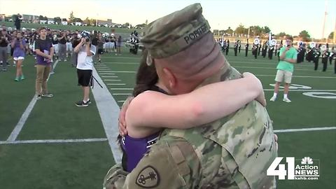 Soldier surprises daughter after returning home