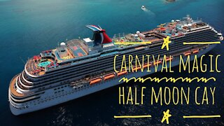 Drone footage of Carnival Magic at Half Moon Cay, Bahamas