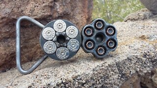 Blued Revolver Belt buckle, 44mag TEXAS - RT ARTISAN WORKS