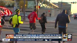 Double-amputee Marine veteran close to finishing 'month of marathons' - Video