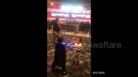 "Young Star Wars fans get into character ahead of ""The Last Jedi"" screening"