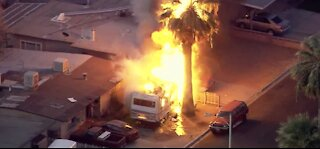UPDATE: No injuries, 'reckless smoking' possible cause of Las Vegas fire, authorities say