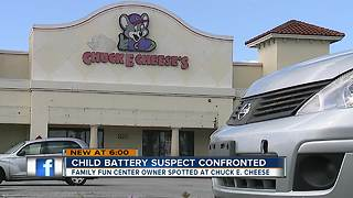 Child battery suspect confronted outside Chuck E. Cheese - Video